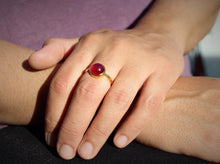 Load image into Gallery viewer, Red Ruby Ring - 24k Gold Plated - Adjustable Size  - Joy#172