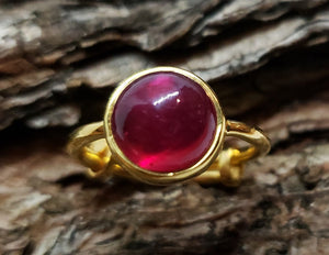 Red Ruby Ring - 24k Gold Plated - Adjustable Size  - Joy#172