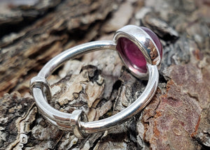 Red Ruby Ring - Sterling Silver - Adjustable Size  - Joy#179