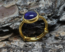 Load image into Gallery viewer, Blue Sapphire Ring - 24k Gold Plated - Adjustable Size  - Joy#186