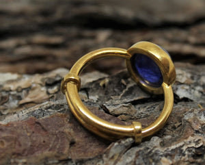 Blue Sapphire Ring - 24k Gold Plated - Adjustable Size  - Joy#186