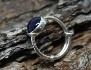 Blue Sapphire Ring - Sterling Silver - Adjustable Size  - Joy#187