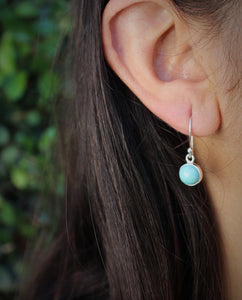 Turquoise Round Dangle Earrings- Sterling Silver  - Joy#183