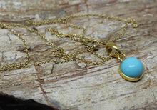 Load image into Gallery viewer, Round Turquoise 10mm Pendant- 24k Gold Plated - Joy#191
