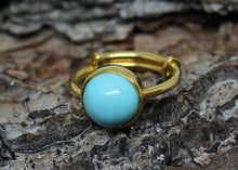 Load image into Gallery viewer, Turquoise Ring - 24k Gold Plated - Adjustable Size  - Joy#185