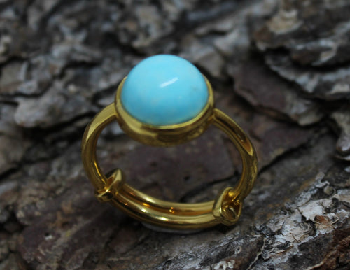 Turquoise Ring - 24k Gold Plated - Adjustable Size  - Joy#185