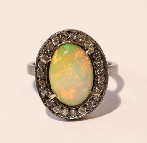 Opal & Diamond Ring- Sterling Silver Rhodium Plated #1394
