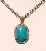 Load image into Gallery viewer, Green Amazonite Gemstone Pendant Diamond Accents #1392