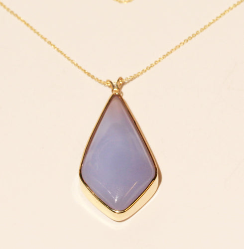 Purple Chalcedony Agate Pendant - 14k Gold #1390