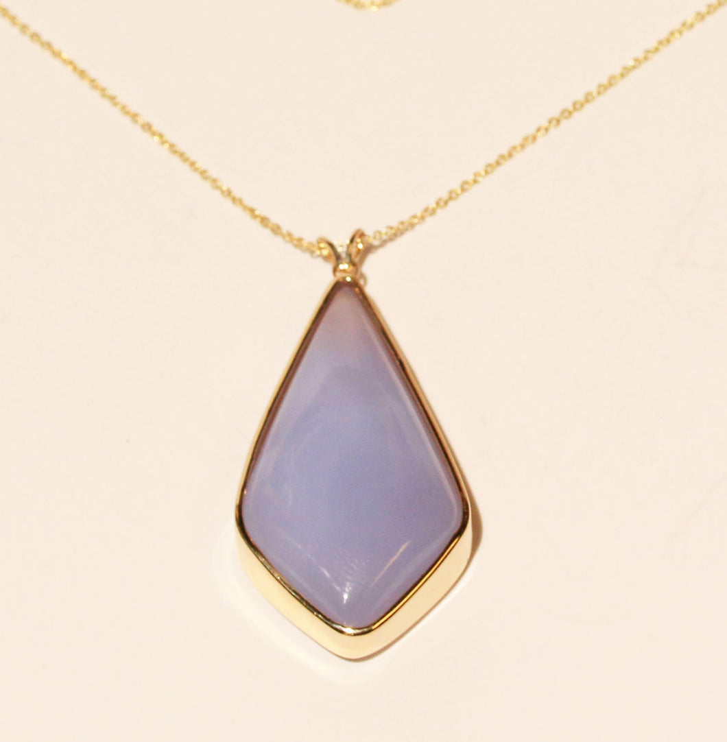 Blue Chalcedony Gold Pendant