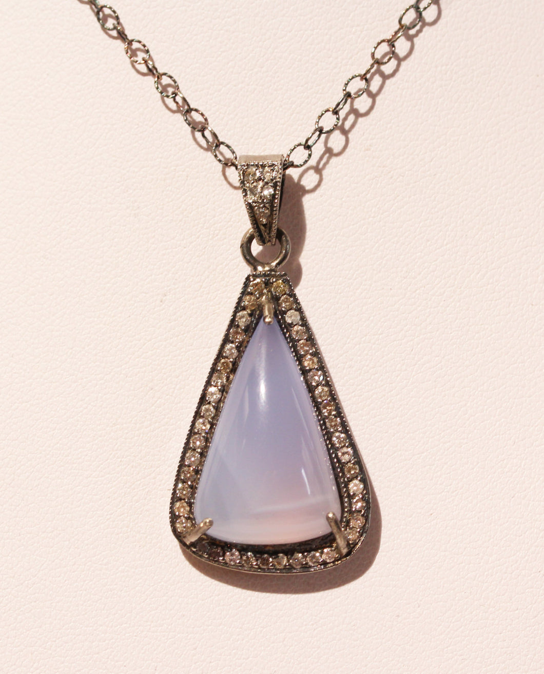 Blue Chalcedony Diamond Pendant