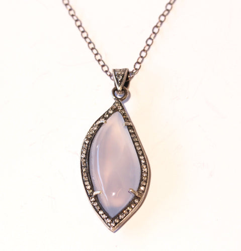 Chalcedony & Diamond Pendant- Rhodium Plated Sterling Silver  #1399