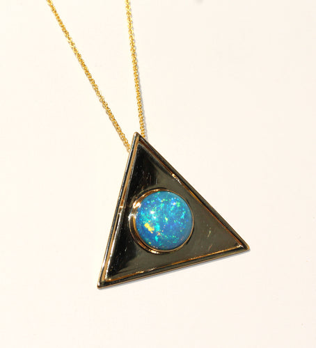 Opal Triangle Gold Pendant Necklace