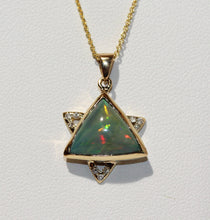 Load image into Gallery viewer, Opal Star of David Pendant  - 14k Yellow Gold - Diamonds  #1480