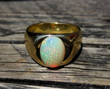 Load image into Gallery viewer, Mens Opal Ring 18k Gold  #1476