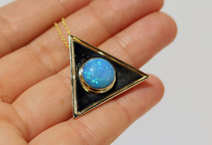 Opal  Triangle Pendant - 14k Gold  #1478