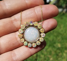 Load image into Gallery viewer, Opal Pendant 14k Yellow Gold  - Split Chain Necklace  #1488