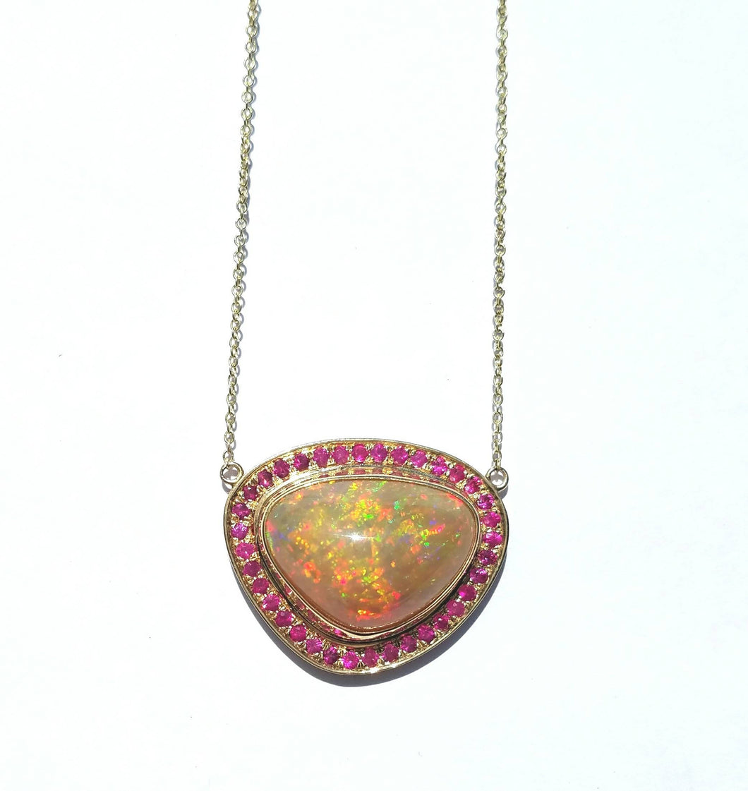 Opal Ruby Pendant Necklace
