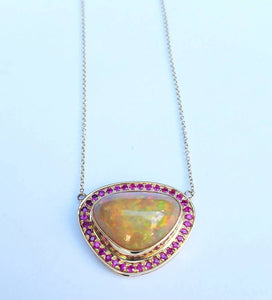 Opal & Ruby 14k Gold Pendant  Split Chain Necklace #1501