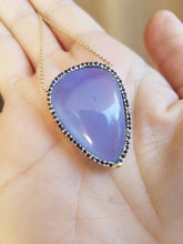 Load image into Gallery viewer, Chalcedony & Sapphire Necklace 14k Gold