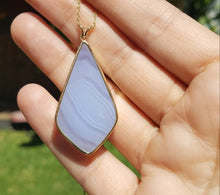 Load image into Gallery viewer, Purple Chalcedony Agate Pendant - 14k Gold #1390