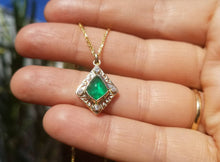 Load image into Gallery viewer, Emerald and Diamond Pendant - 14k Gold #1515