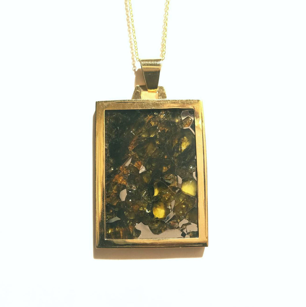 Pallasite Meteorite Pendant Gold Necklace