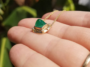 Emerald & Diamond Pendant - 14k Gold #1519