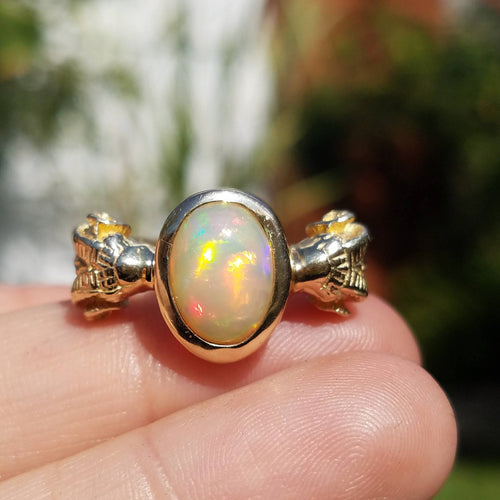 Opal Ring -  Ram Head Ring 14k Gold - Size 8  #1505