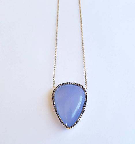 Chalcedony & Sapphire Necklace 14k Gold