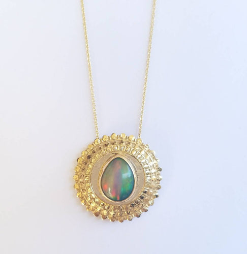 Opal Medallion Pendant 14k Gold Necklace