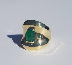 Gold Emerald Ring 14k Gold -  Size 7 - #1514