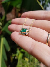 Load image into Gallery viewer, Emerald and Diamond Pendant - 14k Gold #1520