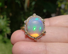 Load image into Gallery viewer, Ethiopian Opal Ring with Diamonds 14k Yellow Gold  #1606