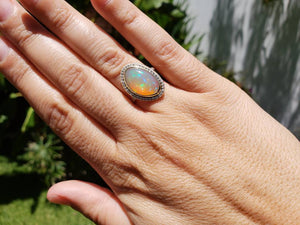 Ethiopian Opal & Diamonds Ring 14k Yellow Gold #1605