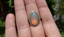 Load image into Gallery viewer, Ethiopian Opal & Diamonds Ring 14k Yellow Gold #1605