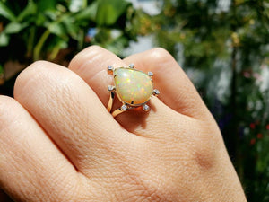 Opal & Diamond Ring 14k Gold #1613