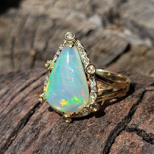 Ethiopian Opal Ring with Diamonds 14k Yellow Gold #1601