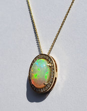 Load image into Gallery viewer, Opal & Diamond Pendant 14k Gold  #1608