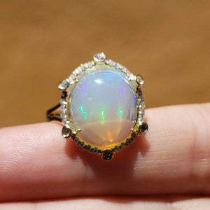 Ethiopian Opal Ring with Diamonds 14k Yellow Gold  #1606