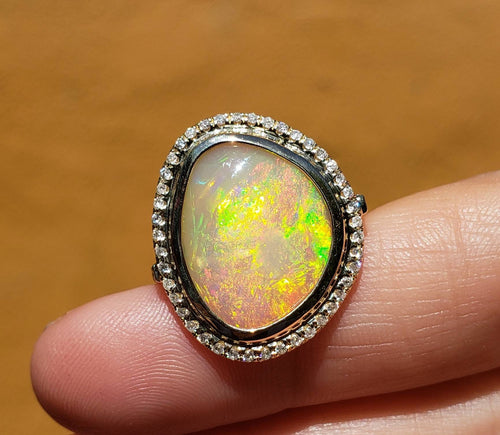 Ethiopian Opal Ring with Diamonds 14k Yellow Gold -  Size 8 #1604