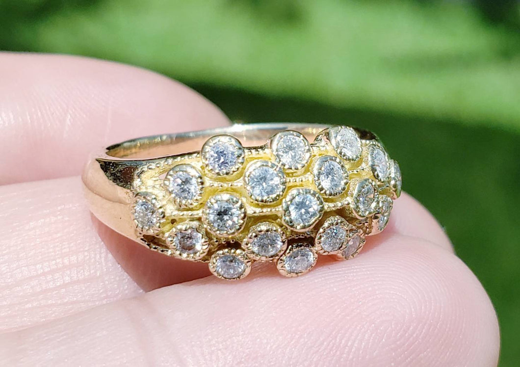 Genuine Diamond Ring - 14k Gold - Fine Jewelry