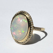 Load image into Gallery viewer, White Opal & Diamond Ring 14k Gold #1600