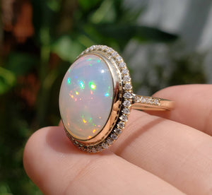 White Opal & Diamond Ring 14k Gold #1600