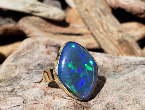 Large Blue Opal Doublet Ring 14k Yellow Gold
