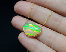 Load image into Gallery viewer, Opal Pendant - 14k Gold Split Chain Necklace