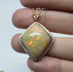 Opal & Diamond Pendant 14k Gold