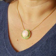 Load image into Gallery viewer, Opal & Green Tsavorite Pendant 14k Gold