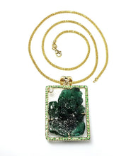 Load image into Gallery viewer, Emerald Gold Pendant Necklace