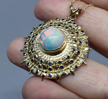 Load image into Gallery viewer, Opal Medallion Pendant - 14k Gold #1626